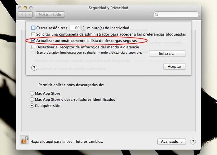 Panel de seguridad de OS X