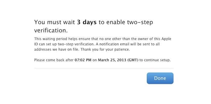 Hay que esperar tres días para poder cambiar al modelo de verificación en dos pasos