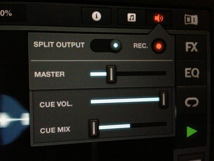 Panel para controlar la salida mix y la grabación
