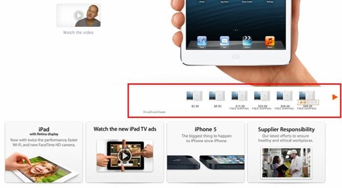 Muestra de un anuncio generado por el troyano Yontoo en la web de Apple