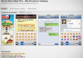 Captura de pantalla de la descripción de la app Emoji