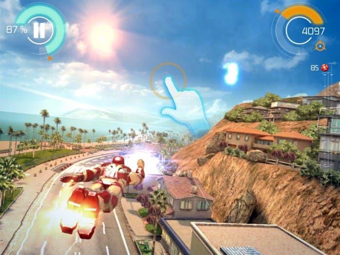 Captura de pantalla durante el jugo Iron Man 3 en el iPad