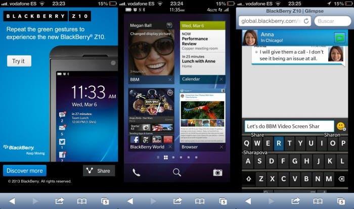 Emulando Blackberry 10 en un iPhone