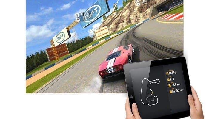 Reproducción Real Racing 2 HD usando Airplay y Dual Screen