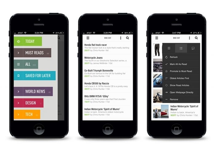 Capturas de pantalla de Feedly en un iPhone