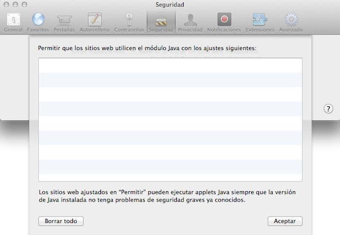 Seguridad de páginas que muestran Java en Safari