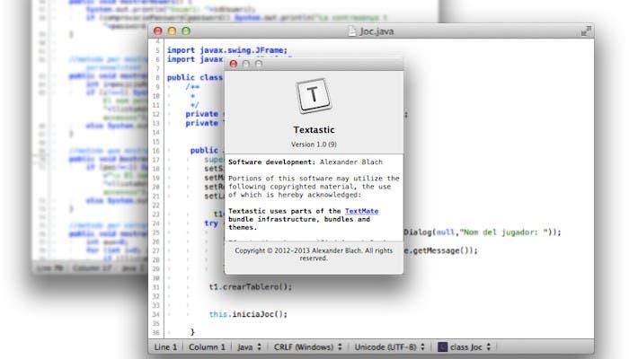 Usando Textastic 1.0 para Mac