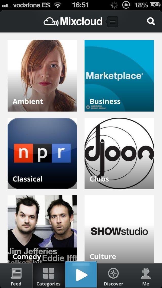 Captura de pantalla del Categories en la nueva aplicación de Mixcloud para iPhone