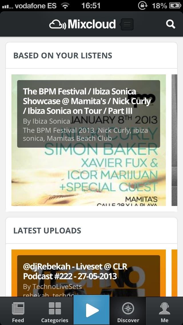 Captura de pantalla del Discover en la nueva aplicación de Mixcloud para iPhone