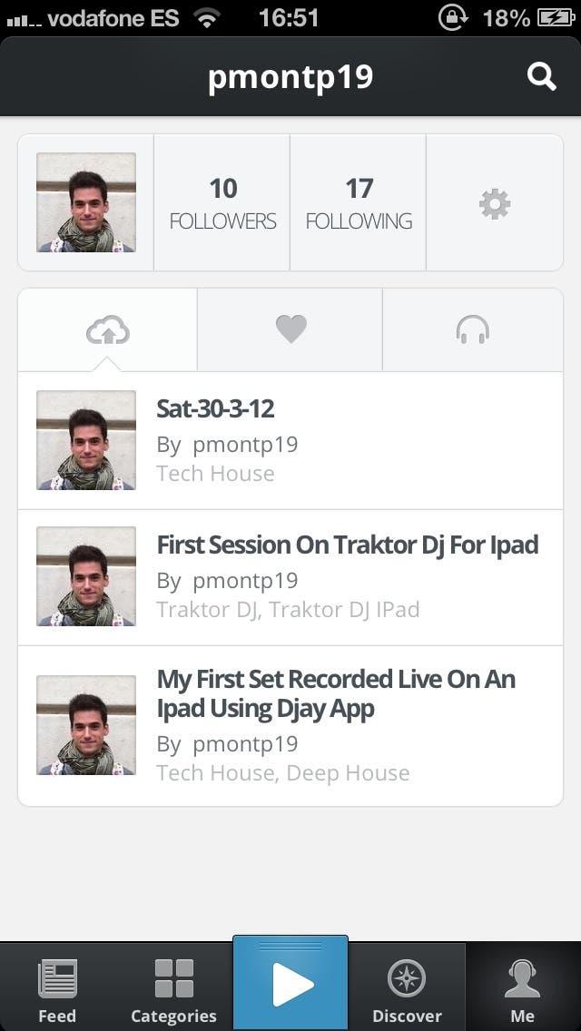Captura de pantalla del perfil en la nueva aplicación de Mixcloud para iPhone