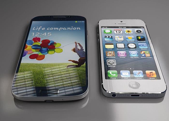 Foto del Samsung Galaxy S4 y iPhone 5