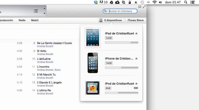 Dispositivos conectados en iTunes