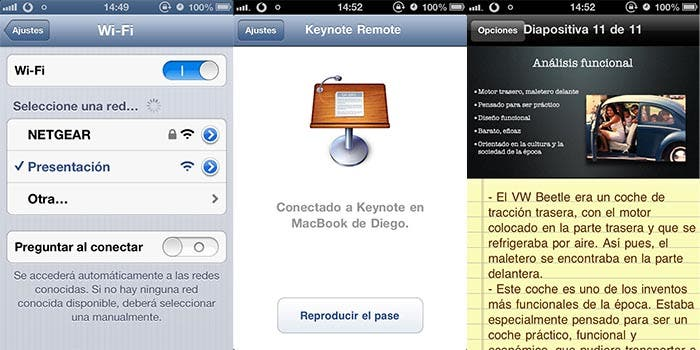 Enlazando Keynote Remote con Keynote