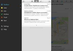 Interfaz principal de Mailbox para iPad