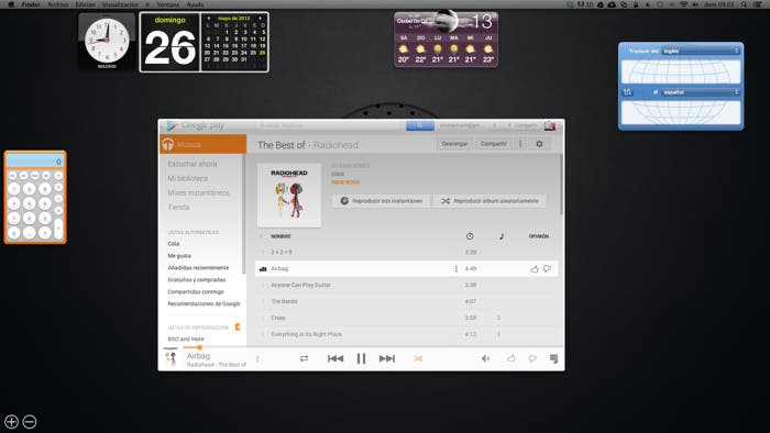 Widget de Google Music en OS X