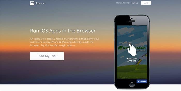 Captura de pantalla de la web App.io