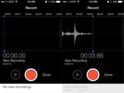 Grabadora de voz en iOS 7 beta 2