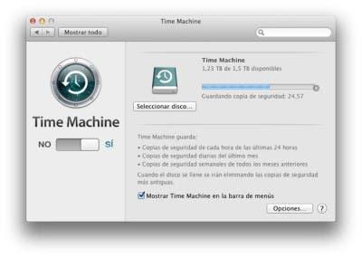 Pantalla principal de Time Machine para hacer copias de seguridad en Mac