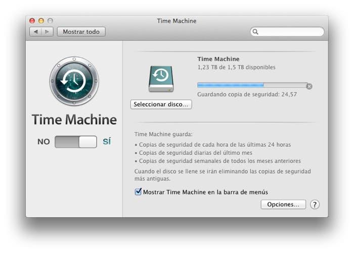 Pantalla principal de Time Machine