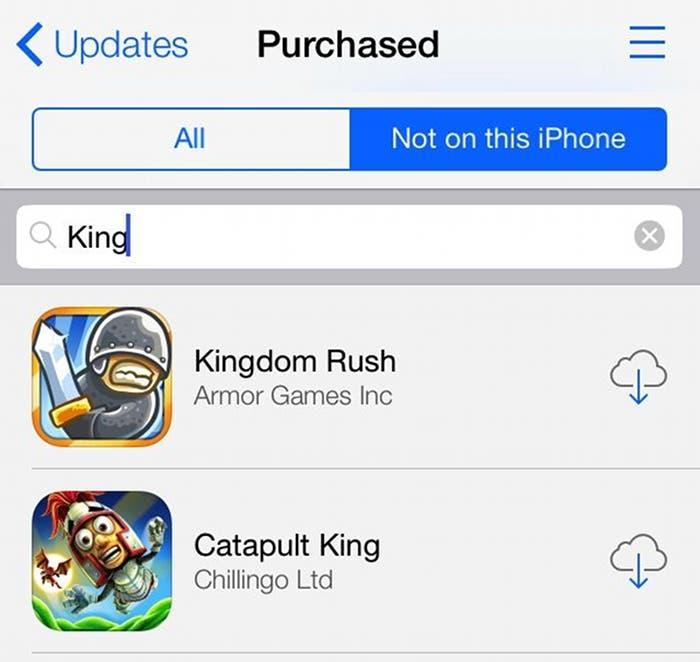 Búsqueda entre las aplicaciones compradas de la App Store