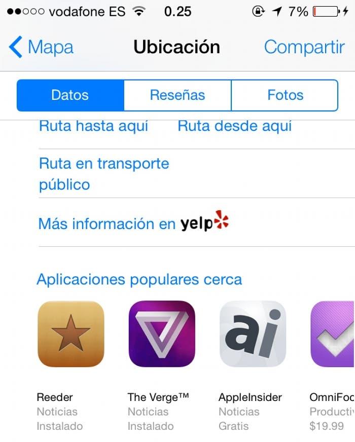 Desde la app de Mapas podremos descubrir las apps populares en el lugar de nuestra búsqueda
