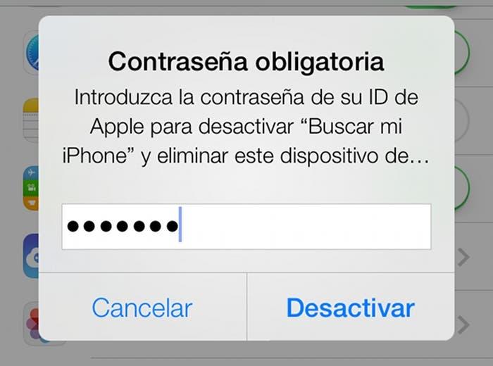 Desactivar Buscar mi iPhone en iOS 7