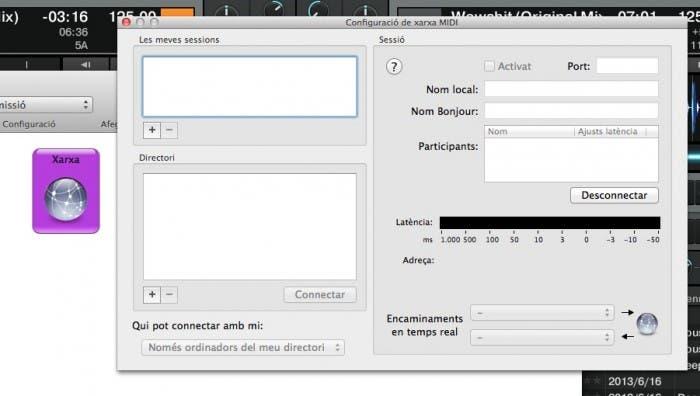 Menú de configuración de audio MIDI en OS X