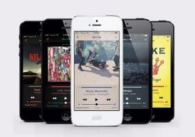 Aplicación Música de iOS 7 con los esquemas de color de iTunes 11