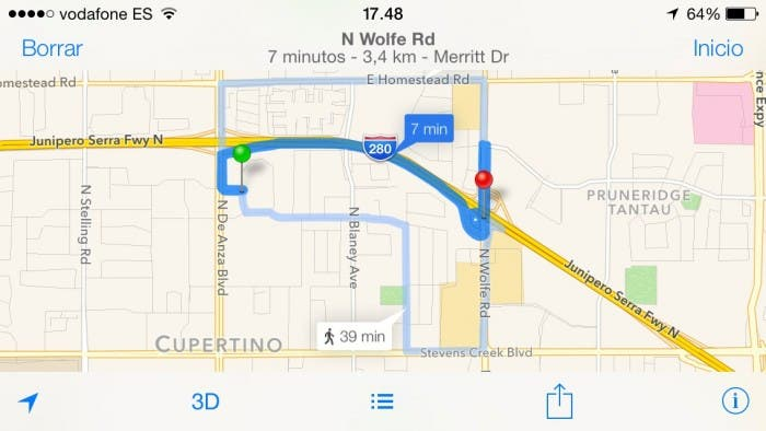 INdicaciones a pie en iOS 7