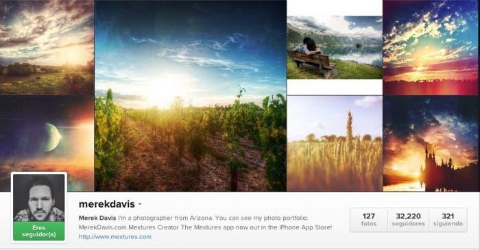 Aplicación del fotografo Merek Davis