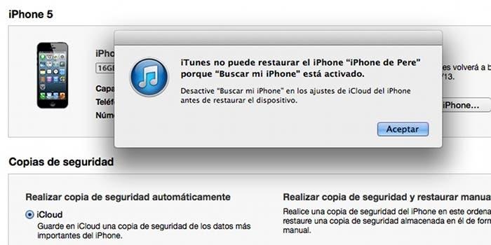 Restaurar el iPhone con Buscar mi iPhone activado