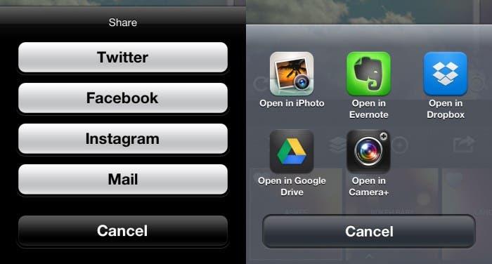 Compartir en redes sociales o abrir en otras aplicaciones