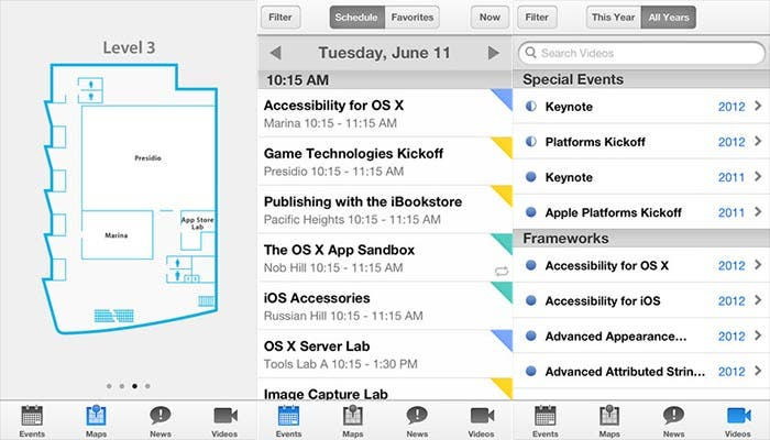 Capturas de pantalla de la aplicacion de WWDC