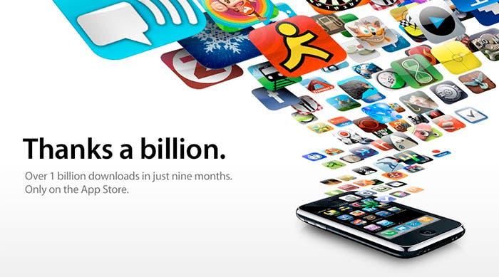 Agradecimiento de Apple por los 1.000 millones de descargas en la App Store