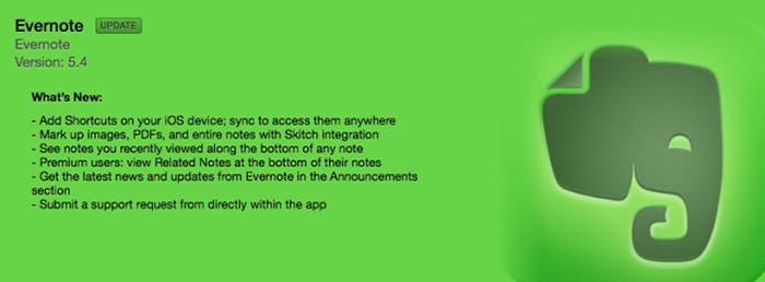 Anuncio actualización Evernote