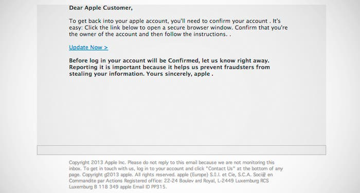 Mail de pishing contra Apple ID