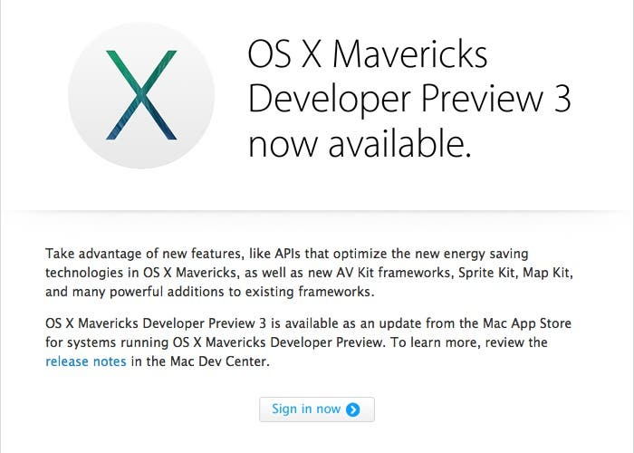 OS X Mavericks DP3 para descarga