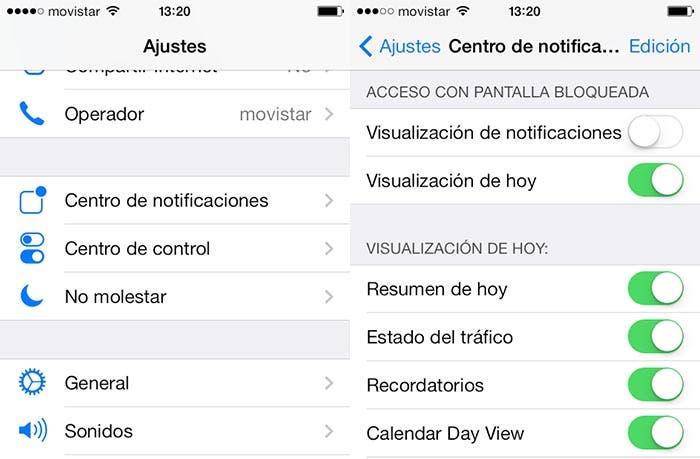 Centro de notificaciones función Hoy en iOS 7