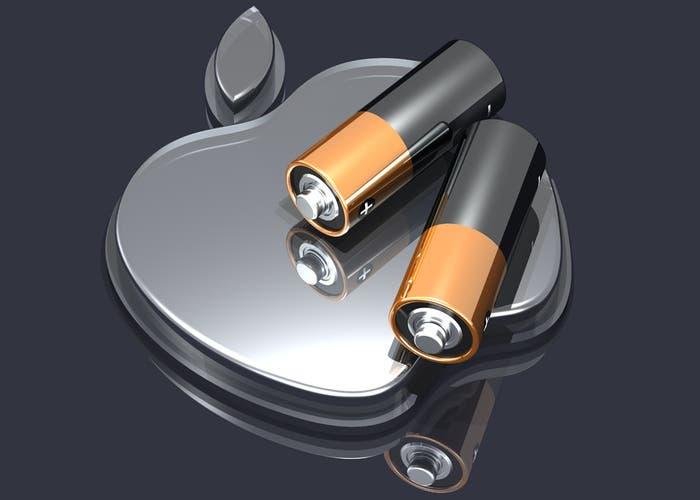 Baterías y logo de Apple