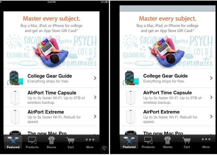 Comparación entre iPad Mini e Ipad Retina en modo 2x (Compatibilidad app Iphone)