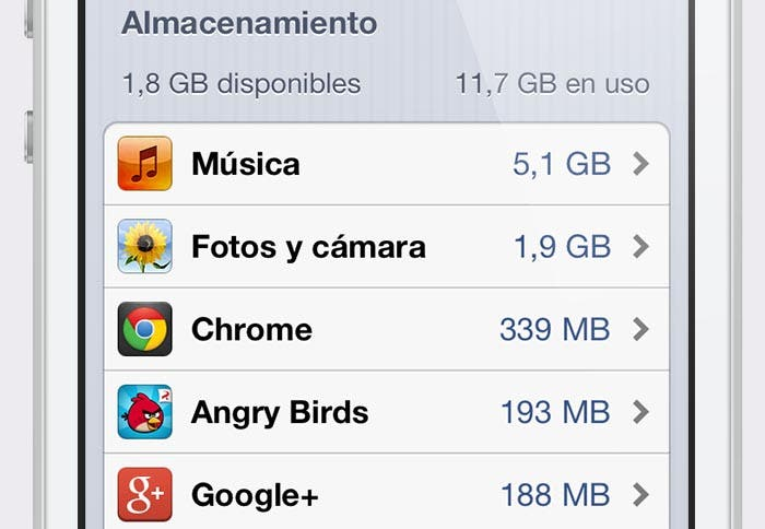 GB libres en el iPhone