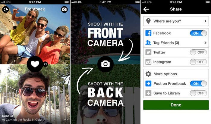 Capturas publicitarias de la app Frontback