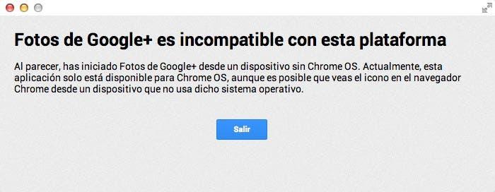 Mensaje de error en Fotos de Google+