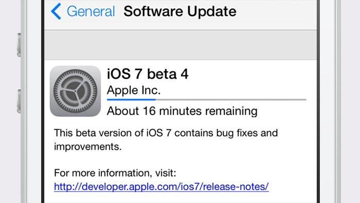 Actualizando a la beta 4 de iOS 7
