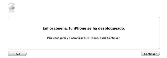 Ventana de iTunes que muestra que nuestro iPhone está liberado