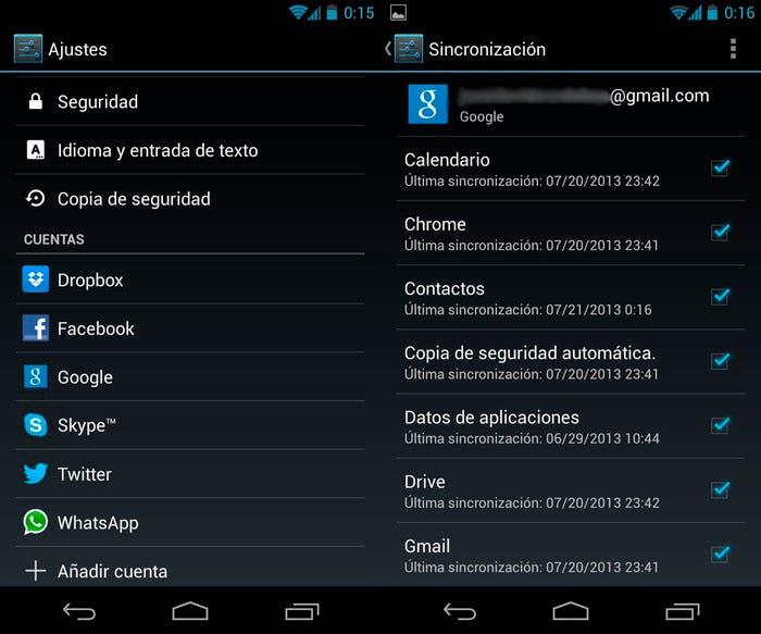 Pasos sincronización contactos en Android