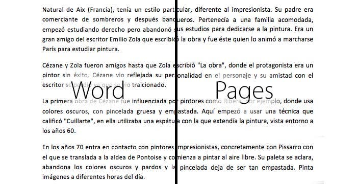 Renderizado de texto en Word y Pages