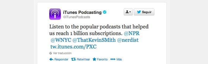 Tweet de iTunes Podcast