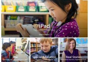 Nuevo apartado de Educación de la web de Apple