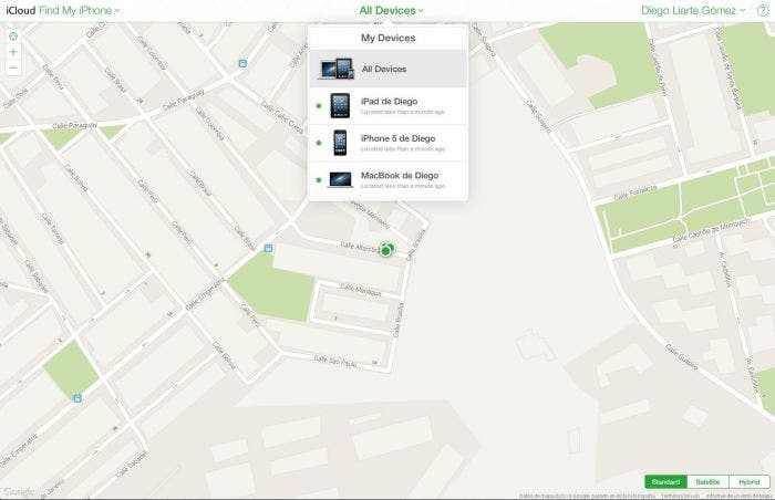 Localización de los dispositivos en Find my iPhone